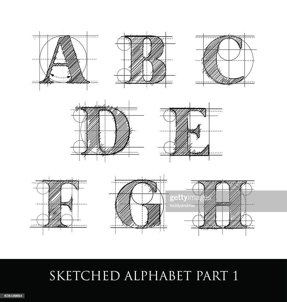 Vintage hand sketched serif letters with guidelines
