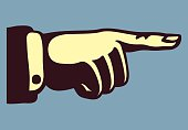 vintage hand with pointing finger retro vector illustration