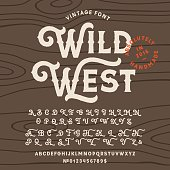 Vintage handcrafted font in western style