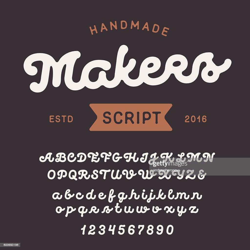 Vintage handcrafted script font. Smooth and line uppercase and lowercase