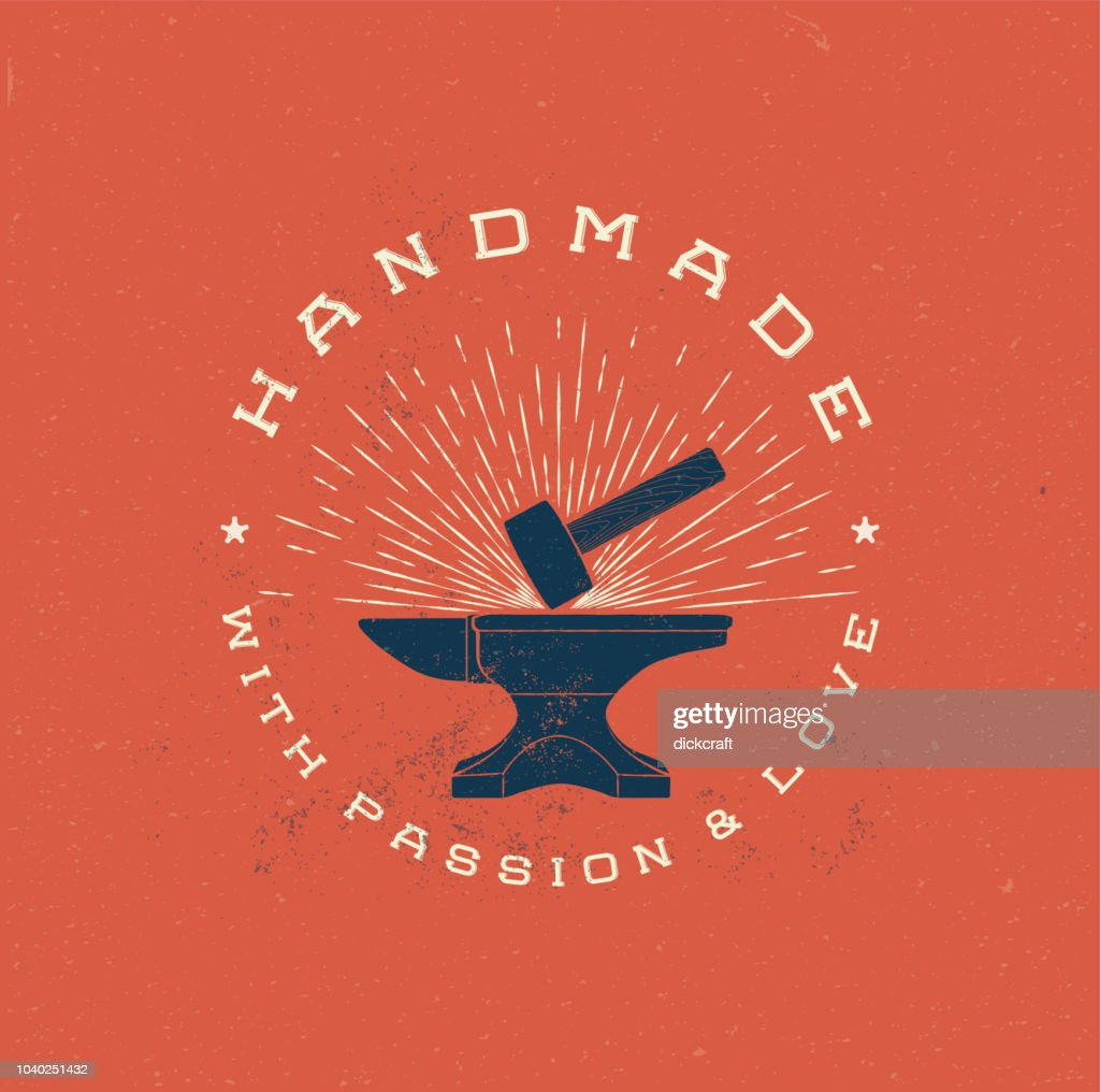 Vintage Handmade Label Badge with Anvil and Hummer. Retro styled vector illustration.