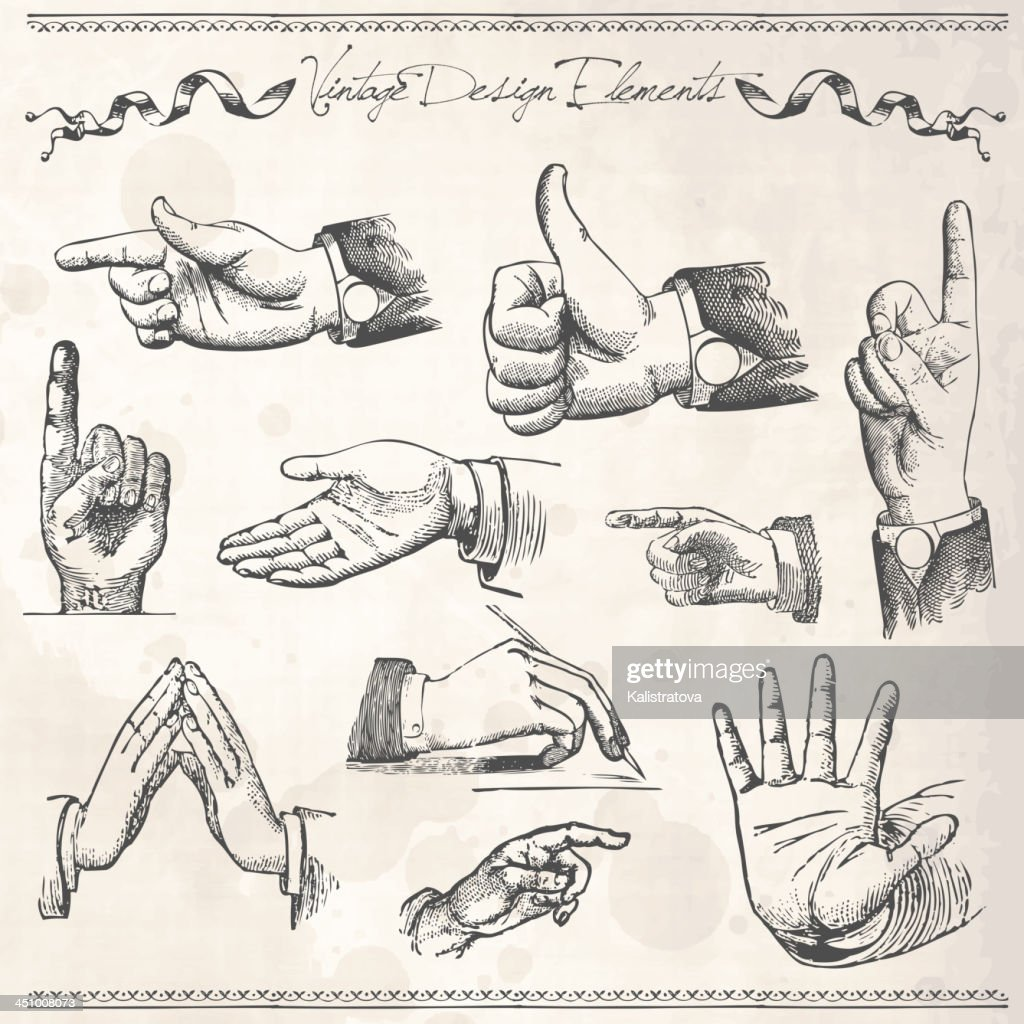 Vintage Hands Pointing