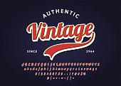 Vintage handwritten lettering headline font. Authentic Retro t-shirt. Vector script typeface.