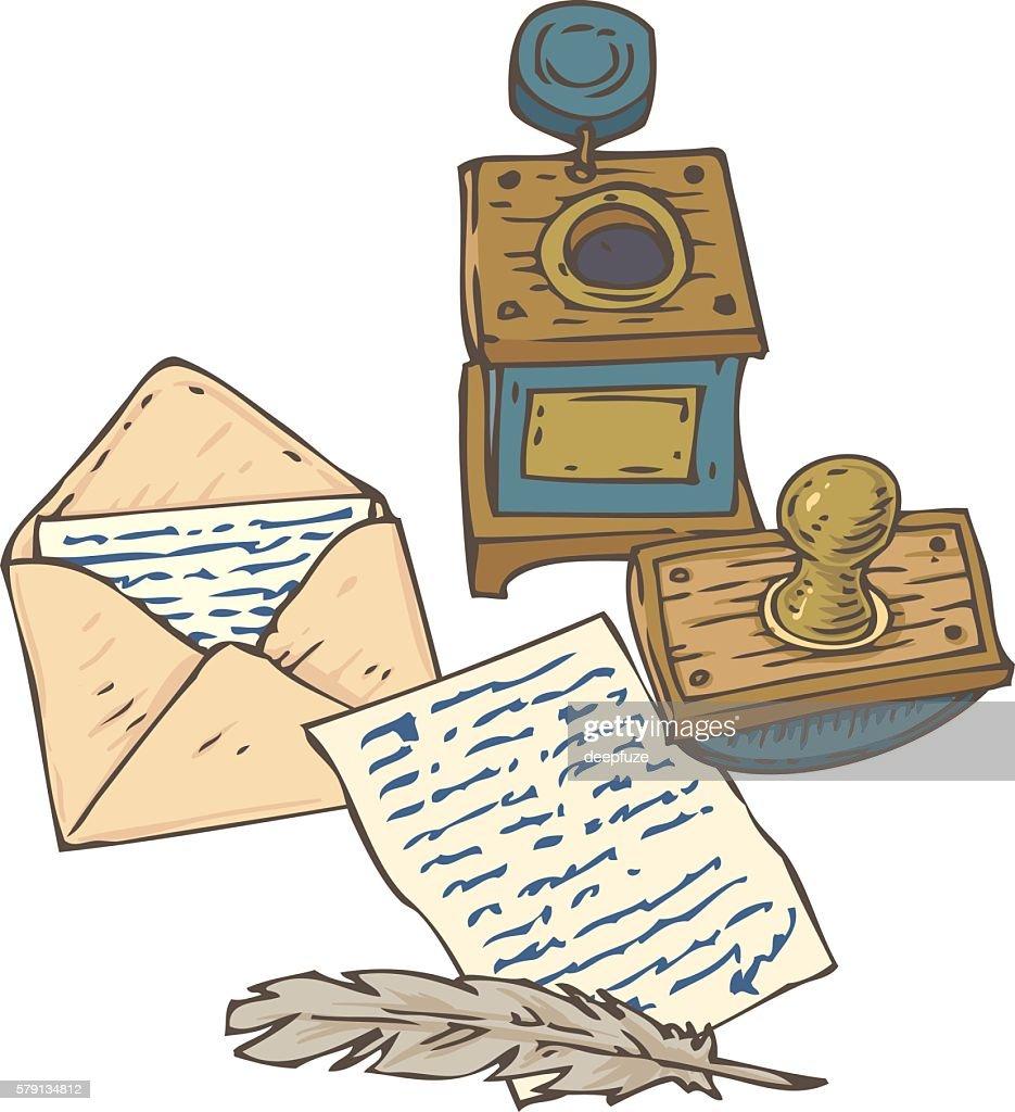 Vintage Handwritten Page, Envelope, Quill Pen, Inkstand and Blotter