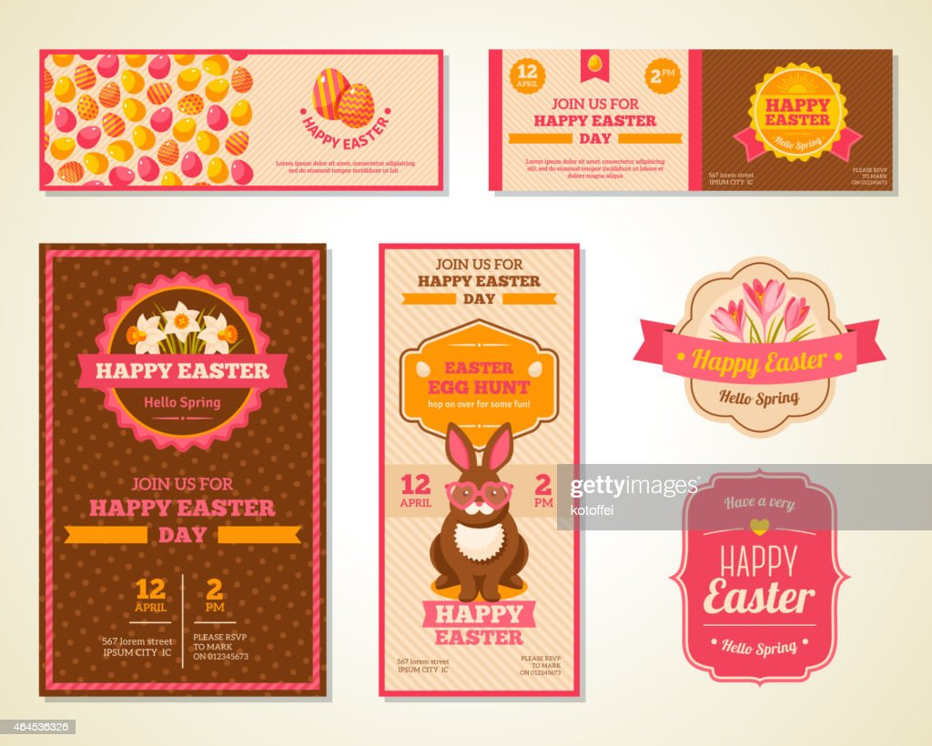 Vintage Happy Easter Greeting Cards Design Vector Art Getty Images