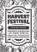 Vintage Harvest Festival Poster Black And White