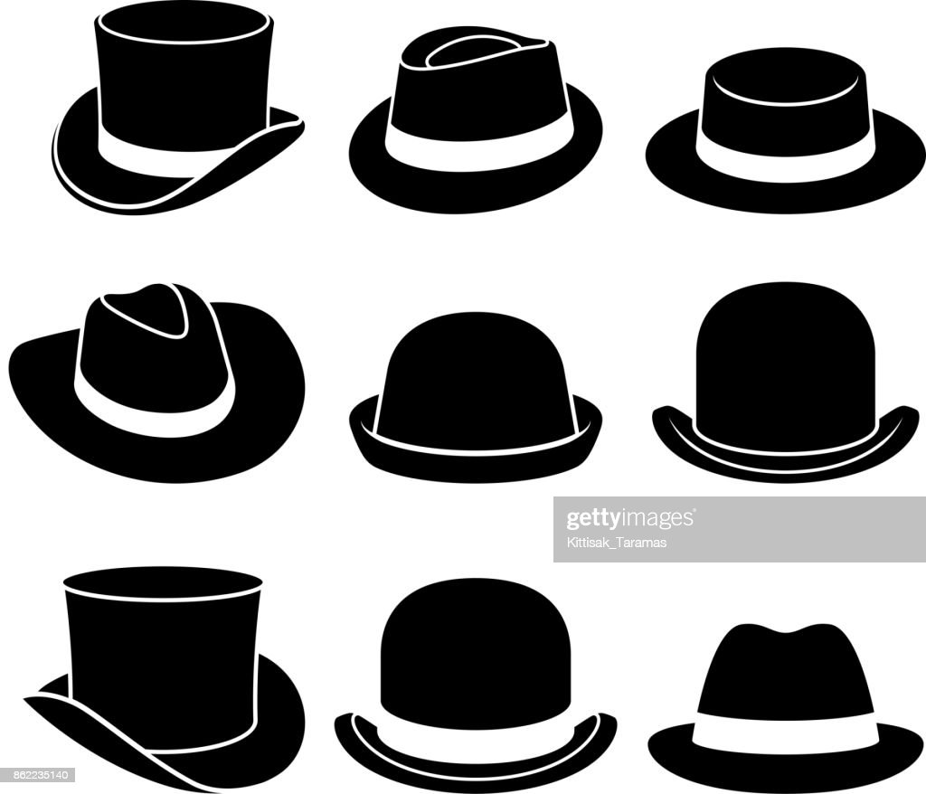 Vintage hats icons. Vector illustration.