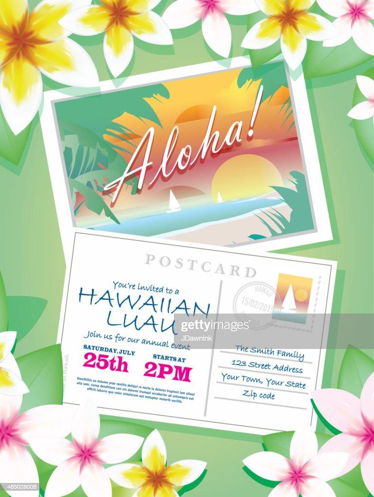 Vintage hawaiian postcard luau invitation design template on green vintage hawaiian postcard luau invitation design template on green vector art stopboris Gallery