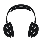 Vintage headphones icon in black style isolated on white background. Hipster style symbol stock vector illustration.