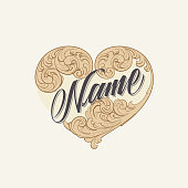 Vintage Heart With Name