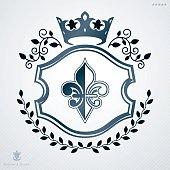 Vintage heraldry design template, vector emblem created with laurel leaf and monarch crown.