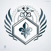 Vintage heraldry design template, vector emblem created with security keys.