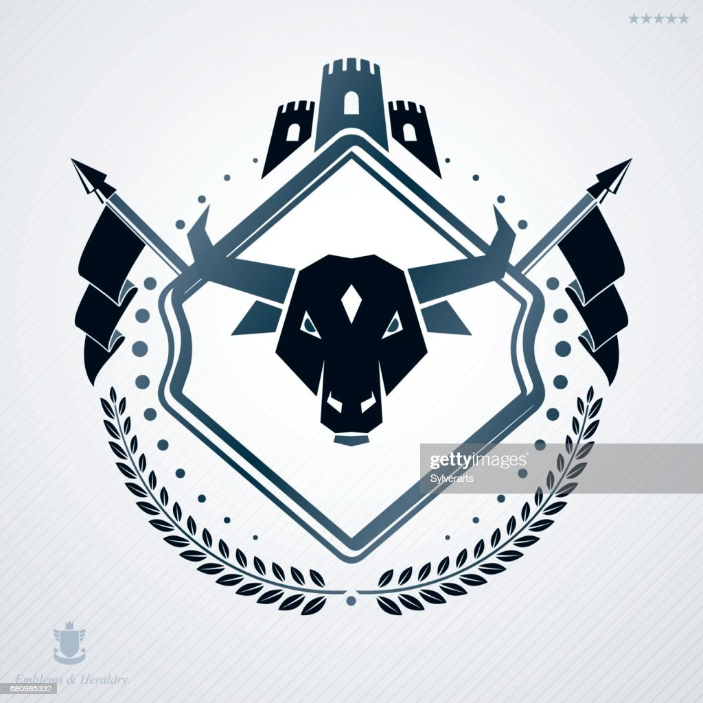 Vintage heraldry design template, vector emblem created with tower and buffalo head.