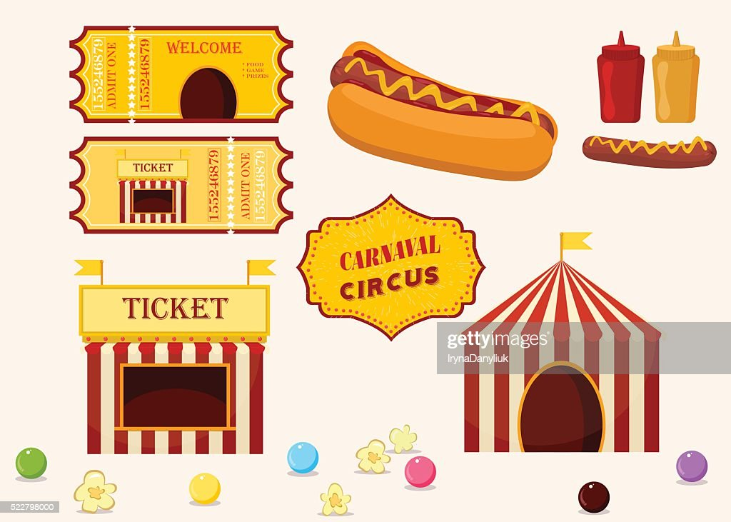 Vintage hipster circus collection with carnival food vector icons illustration.