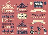 Vintage Hipster Circus labels set. Vector flat illustration.