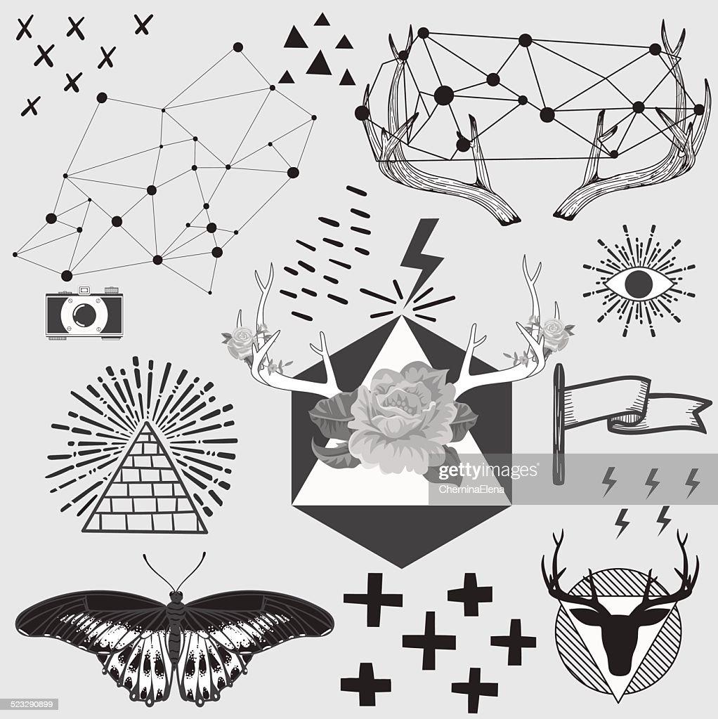 Vintage hipster hand drawn design elements set. Vector illustrat