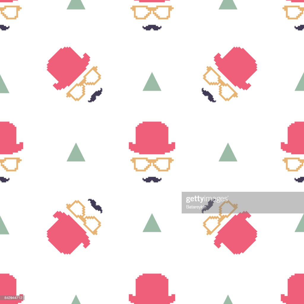 Vintage Hipster Hat And Mustache Symbol Seamless Pattern Vector Art