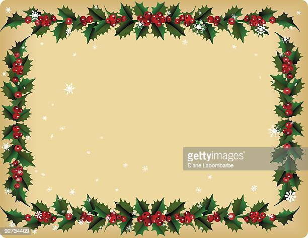 Vintage Holly Leaves and Berries Framed Background with Snowflakes