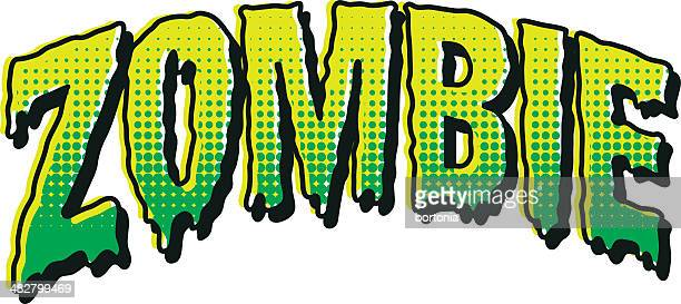 vintage horror comic book lettering: zombie - zombie stock illustrations, clip art, cartoons, & icons