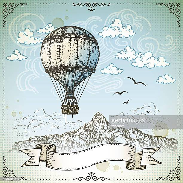 vintage hot air balloon - cloudscape stock illustrations, clip art, cartoons, & icons