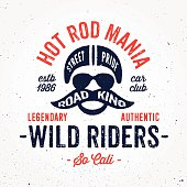 Vintage hot rod bike inspired apparel fashion print design