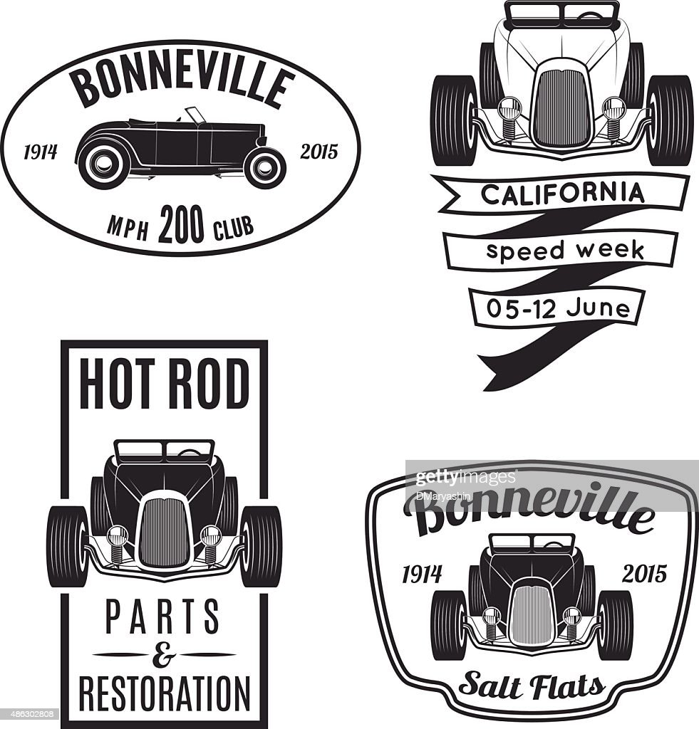 Vintage hot rod car icons and emblems.