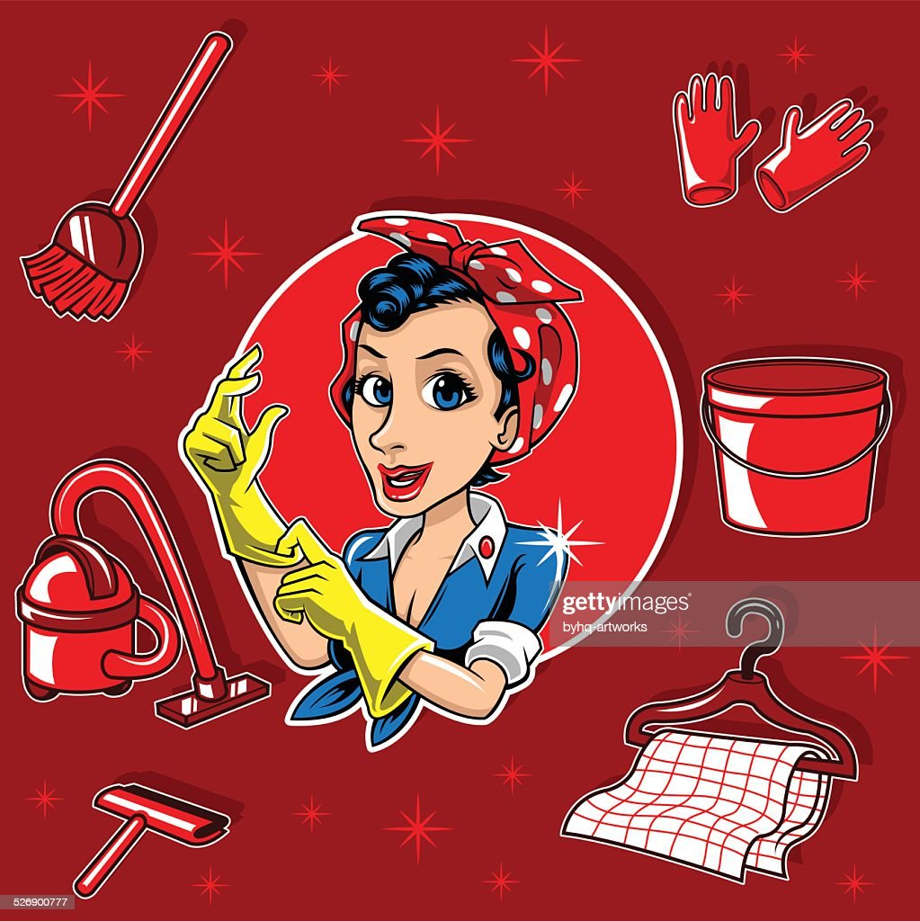 Free Download Of Cartoon Cleaning Lady Vector Graphics And Illustrations