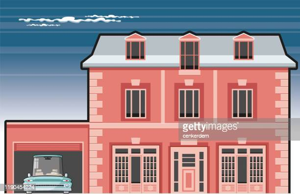 vintage house - car ownership stock illustrations, clip art, cartoons, & icons