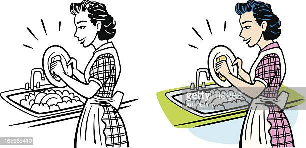 Vintage Housewife Washing Dishes
