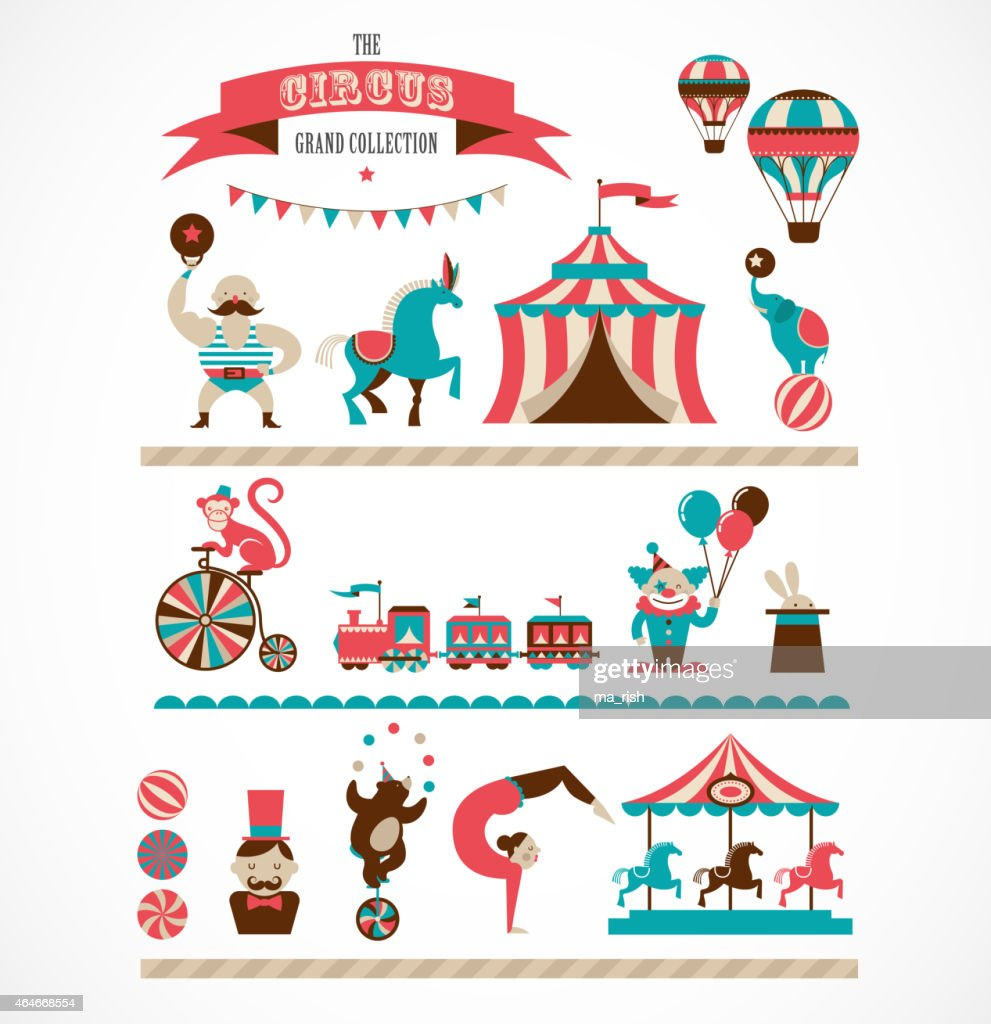 vintage huge circus collection with carnival, funfair, vector icons, background