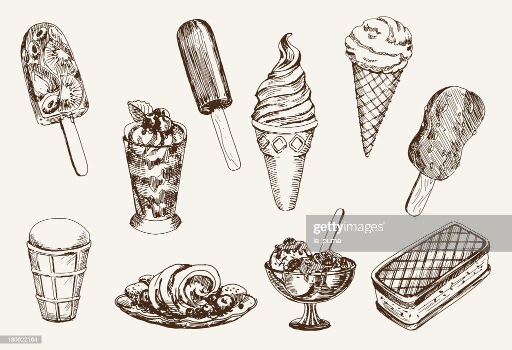 Vintage ice cream artwork on cream paper