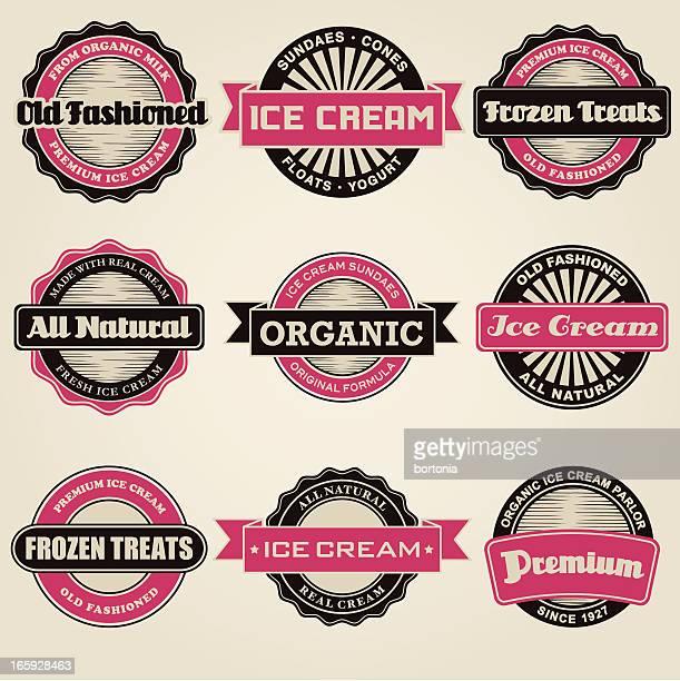 vintage ice cream labels - frozen yogurt stock illustrations, clip art, cartoons, & icons
