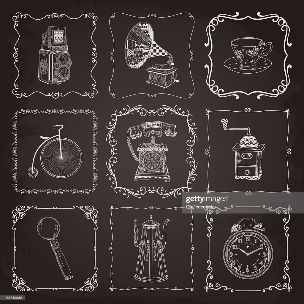 Vintage icons and frames