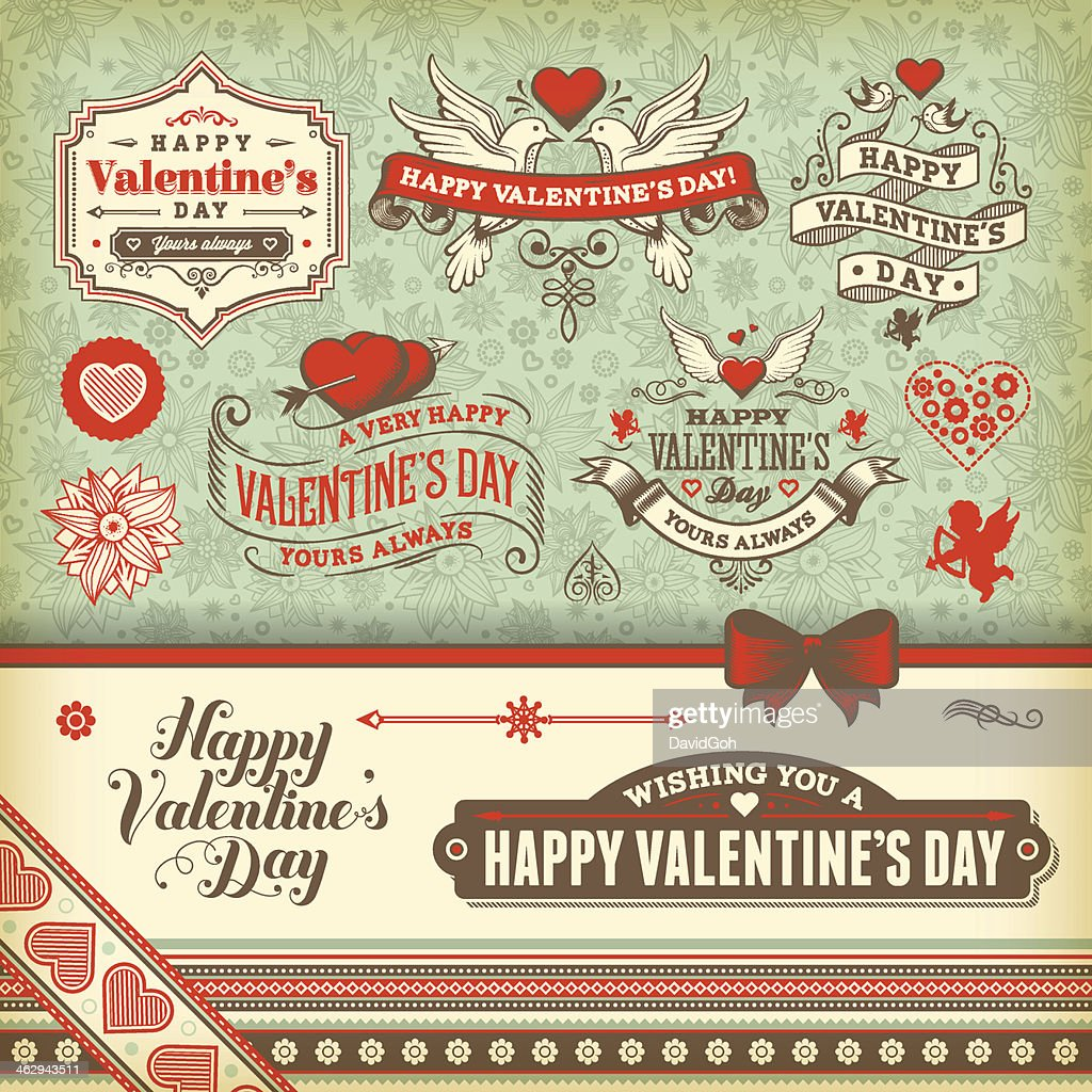 Vintage icons related to Valentine's Day : Vector Art