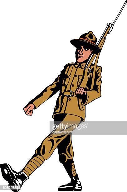 ilustraciones, imágenes clip art, dibujos animados e iconos de stock de vintage illustraion of an anzac soldier isolated - primera guerra mundial