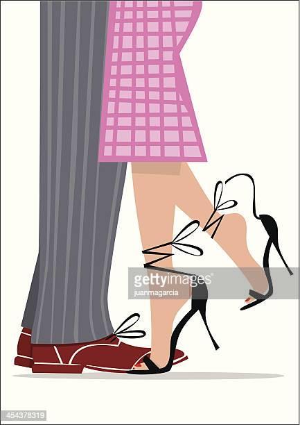 ilustraciones, imágenes clip art, dibujos animados e iconos de stock de ilustración vintage de una pareja bailando las piernas. - bailar un vals