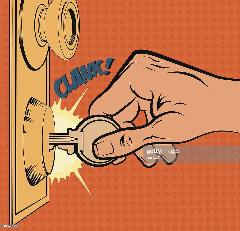 Vintage illustration of a hand opening a door
