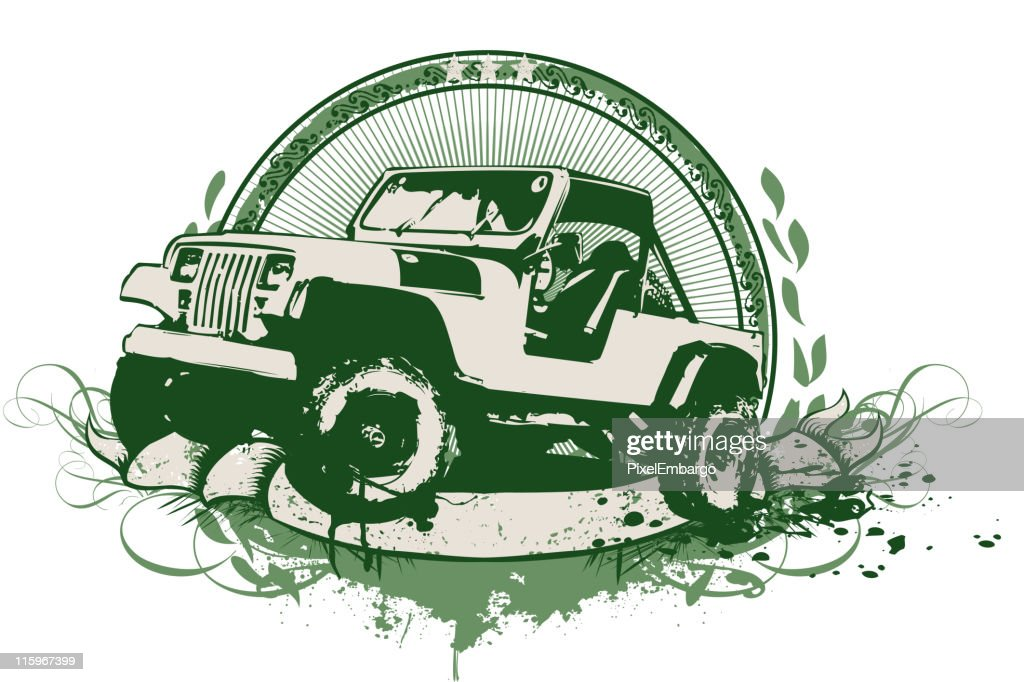 Vintage illustration of a military vehicle in green