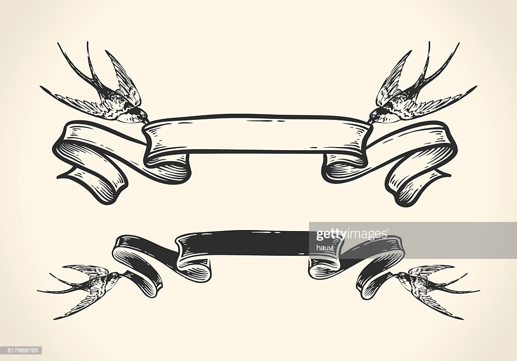Vintage illustration of birds holding ribbon