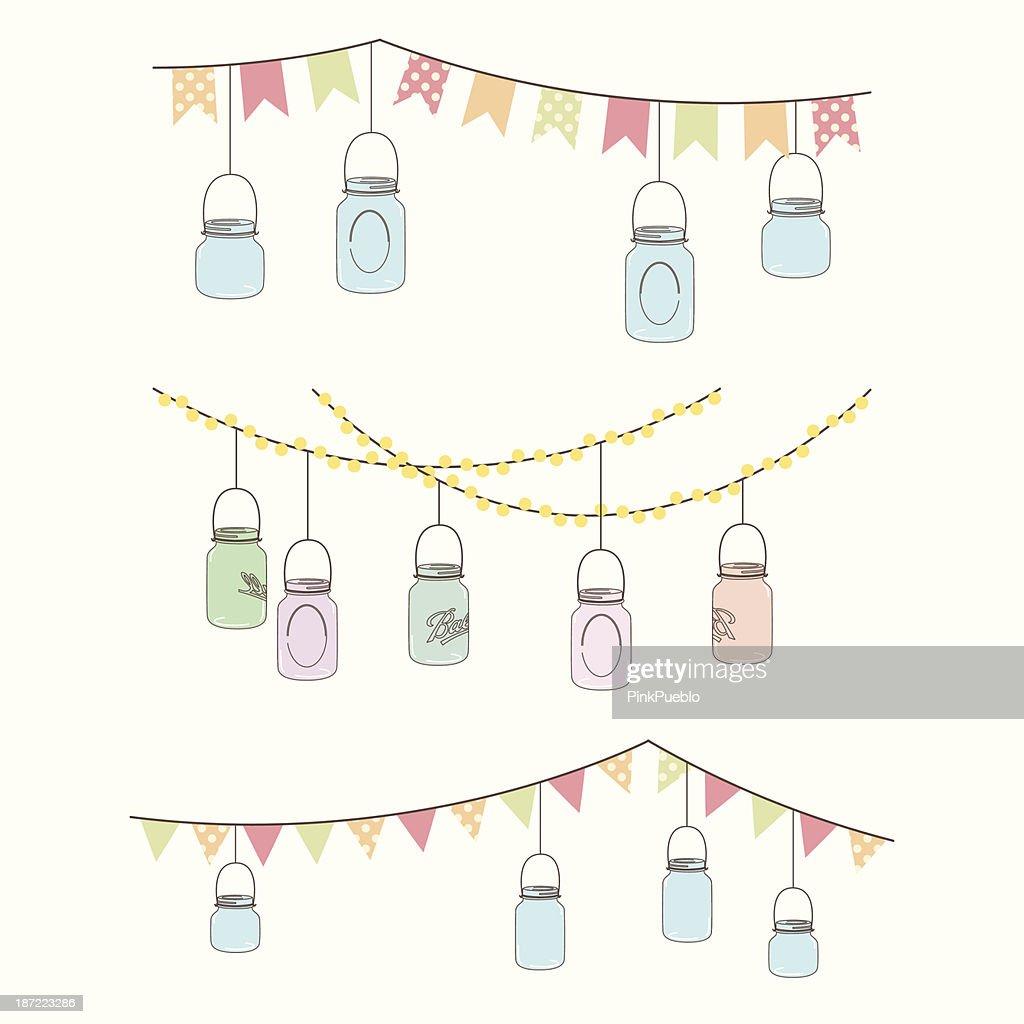 Vintage illustration of hanging glass jar lights and bunting