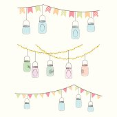 Vintage illustration of hanging glass jar lights and bunting
