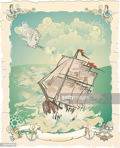 vintage illustration old vessel in storm