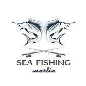 vintage illustration sea fishing with marlin