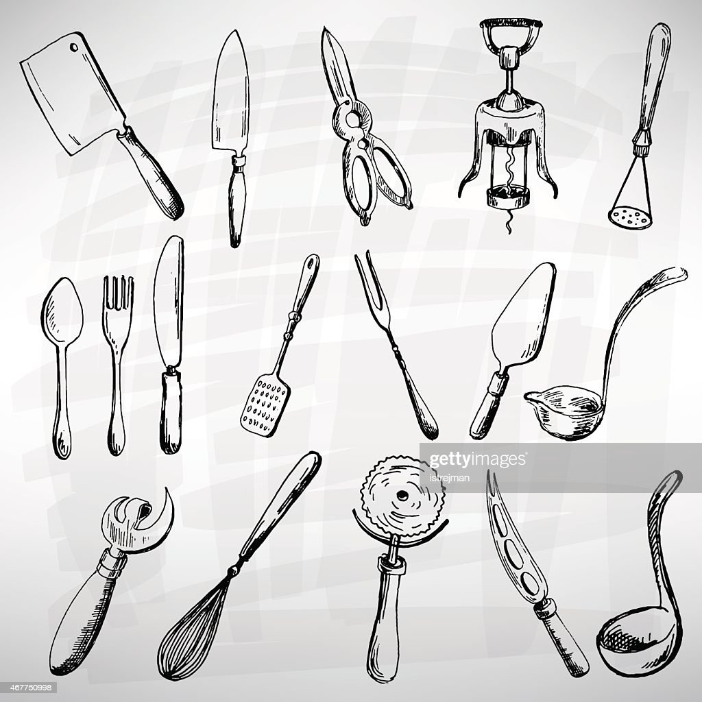 Vintage illustrations of a cutlery set