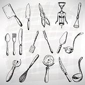 Vintage illustrations of a cutlery set