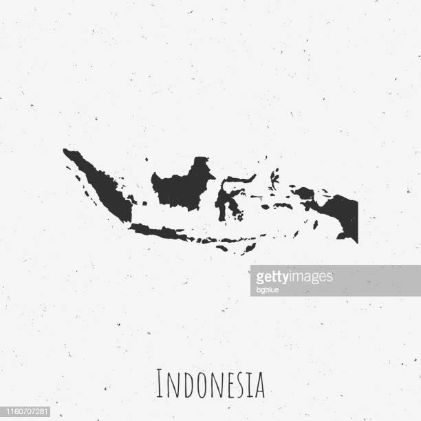 illustrazioni stock, clip art, cartoni animati e icone di tendenza di vintage indonesia map with retro style, on dusty white background - indonesia