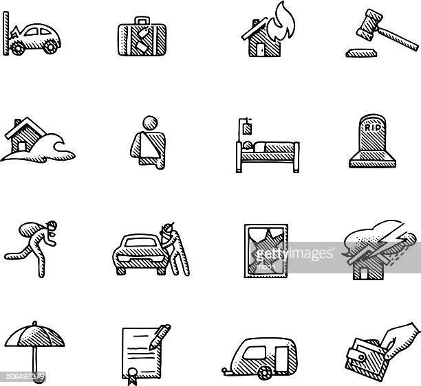 illustrations, cliparts, dessins animés et icônes de icônes d'assurance vintage - voleur