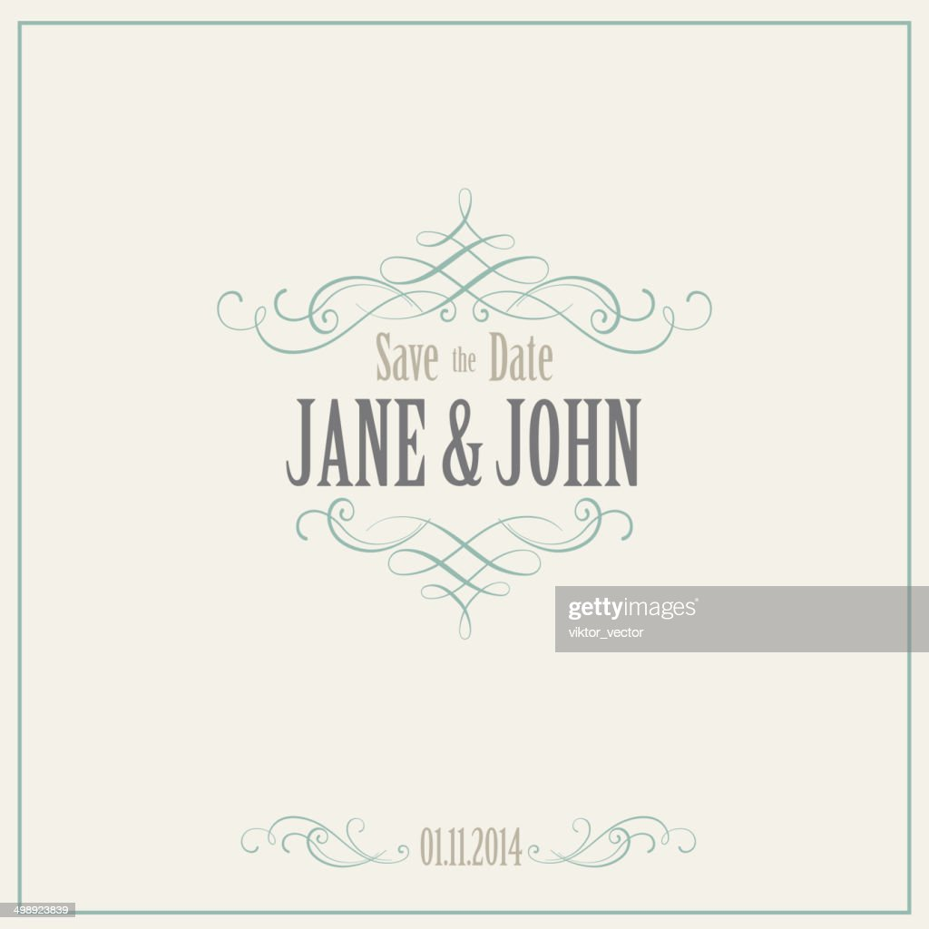 Vintage Invitation Card. Vector Illustration