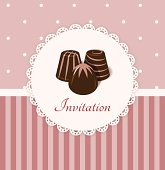Vintage invitation card with chocolate candies