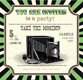 vintage invitation card with retro elements